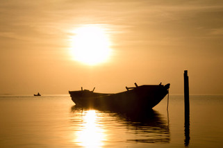 Travel Photography fisherman and sunrise in Andaman Islands