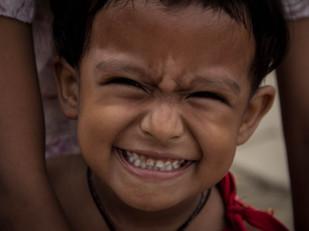 portrait of smiling Nepali girl in Kathmandu