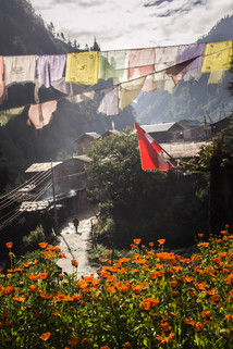 Travel Photography streets of Chame on Annapurna Circuit