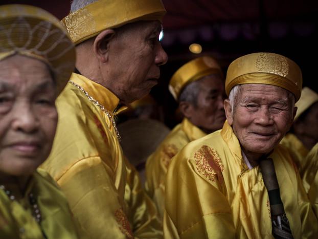 Travel Photography of elders at ceremony in Vietnam