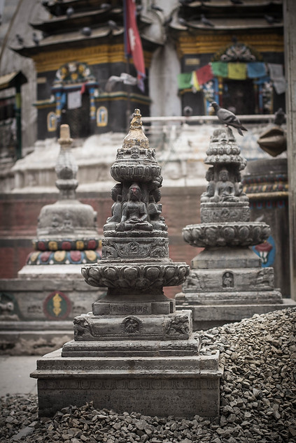 Travel photography of Hindu statues in Kathmandu square