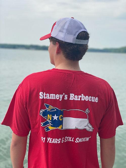 Red Stamey's NC Pig LogoT-Shirt