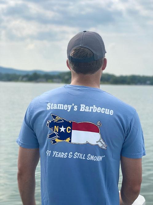Washed Denim Stamey's NC Pig LogoT-Shirt