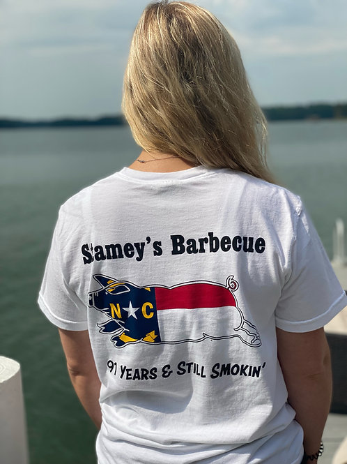White Stamey's NC Pig LogoT-Shirt