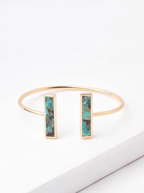 Rhetta Gold & Turquoise Stone Cuff Bracelet