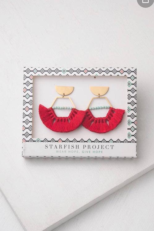 Nora red tassel earrings