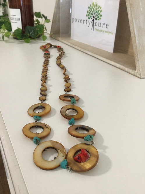 Mother of Pearl Shell Long Necklace