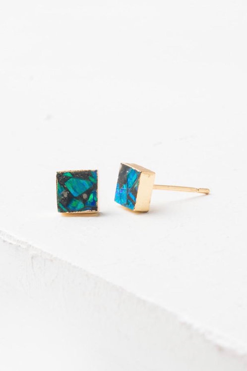 Lena Sophia Multicolored Square Stud