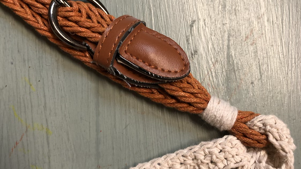 Handmade Cotton Shopping Bag - recycled leather handle