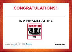 "Scottish Curry Award 2018 ""Best of Glasgow"""
