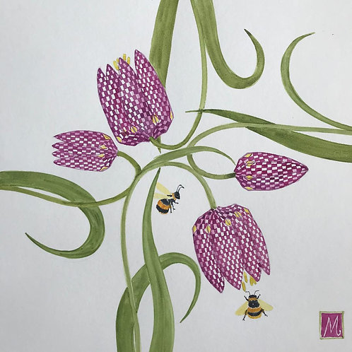 Marie- Therese King ''Snakeshead Fritillaries and Bumblebee''