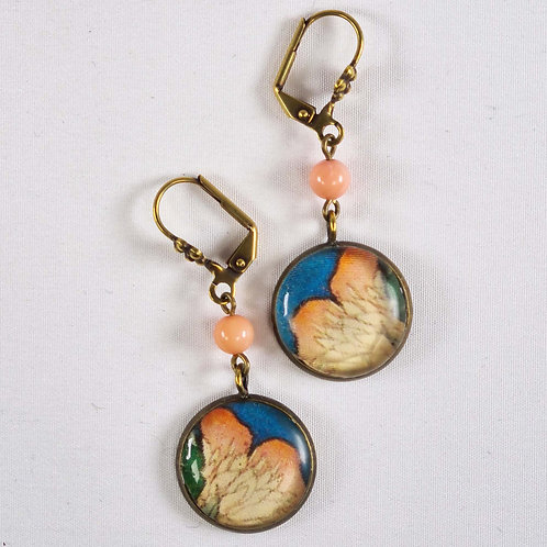 Japanese Waterlily Vintaged Resin Earings