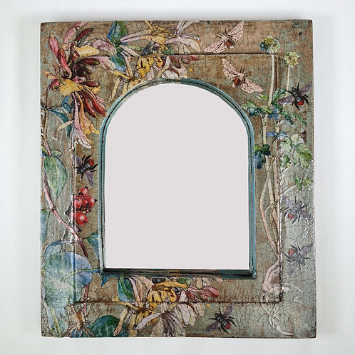 Jo Verity Decoupage Mirror with Honeysuckle, Moths and Bees