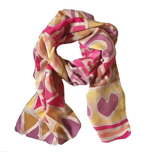 Shelley Faye Lazar Pinks of Spring and Summer Blooms Crepe de Chine Scarf