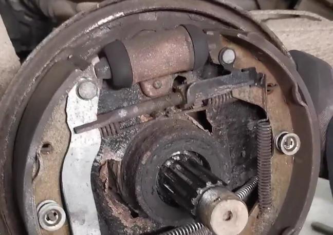 Corroded brake mounting