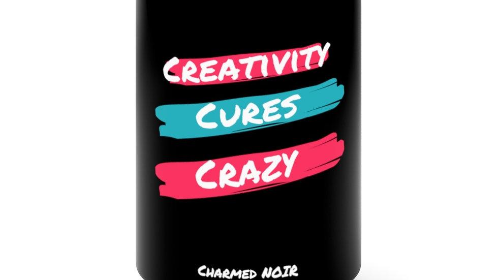 """""""Creativity Cures Crazy"""" Black Mug 15oz"""