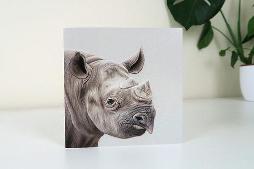 The Black Rhinoceros - Greetings Card