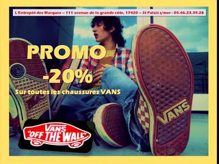 -20% VANS chaussures du 16.07.15 au 7.08.15 !