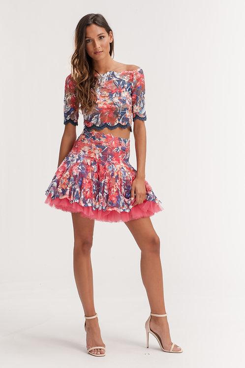 Mini Floral Pleated Tutu Lace Skirt
