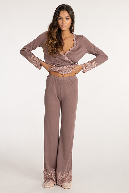Cashmere loungewear pants with lace details - Matching set
