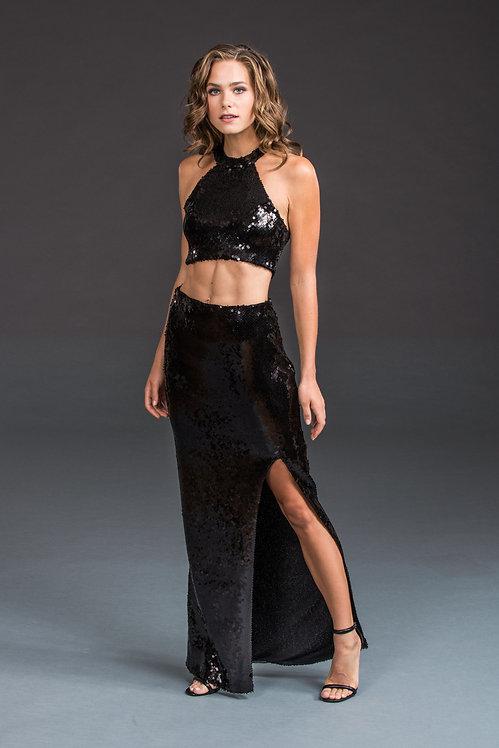 Black Sequin Skirt IB020