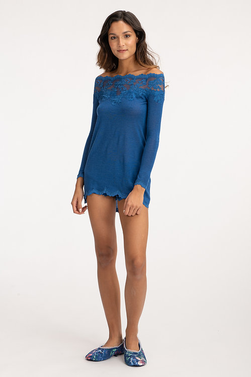 Blue Cashmere Sweater Front View