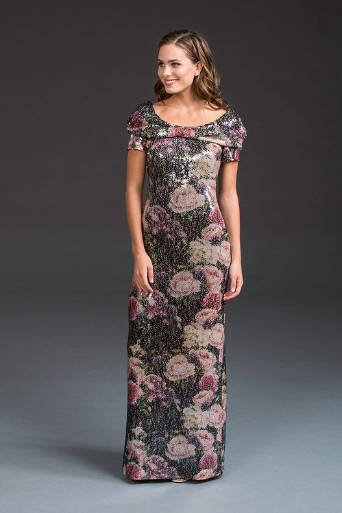 Sequin Gown with Floral Print IB002