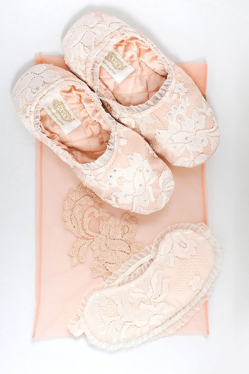 Perfect Sleep Set in Peach - gift box with lace slippers & soft sleeping mask