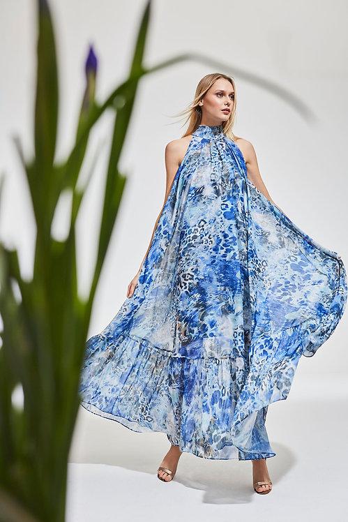 Blue Animal Print Halterneck Chiffon Maxi Dress