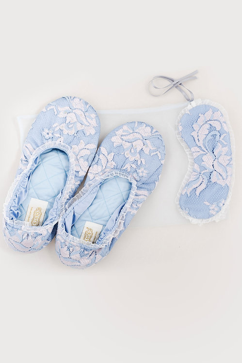 Perfect Sleep Set in Blue - gift box with lace slippers & soft sleeping mask