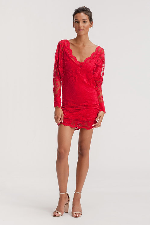 Red Mini Lace Dress