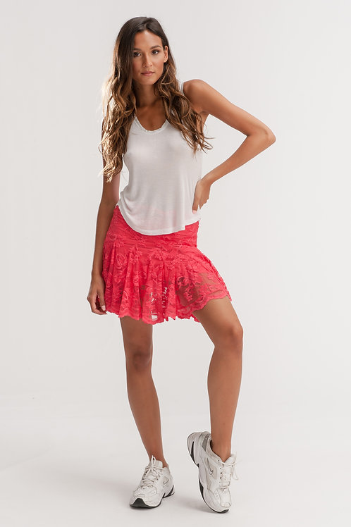 Pink Short Flared Lace Skirt