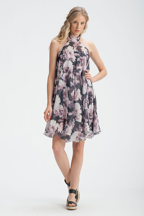 Shadow Rose Halterneck Chiffon Dress
