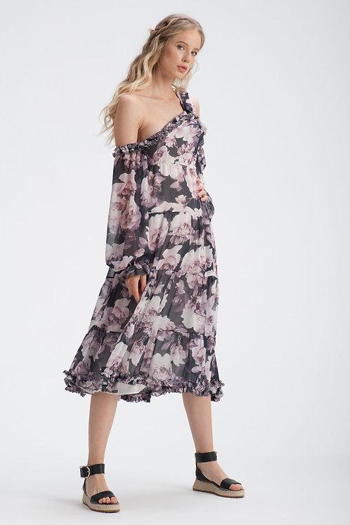 Asymmetric Chiffon Dress IB108