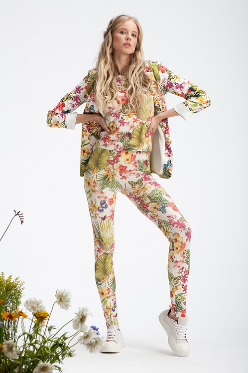 White Floral Stretch Jersey Leggings