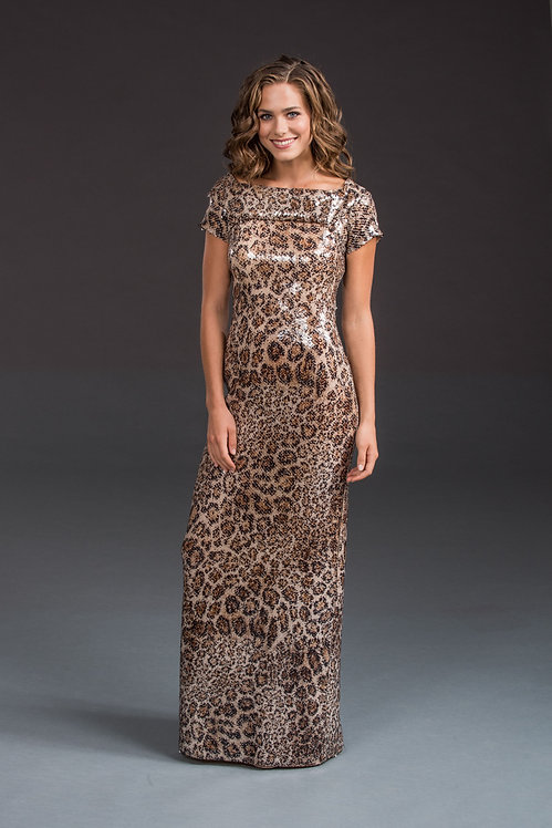 Animal Printed Sequin Gown IB001