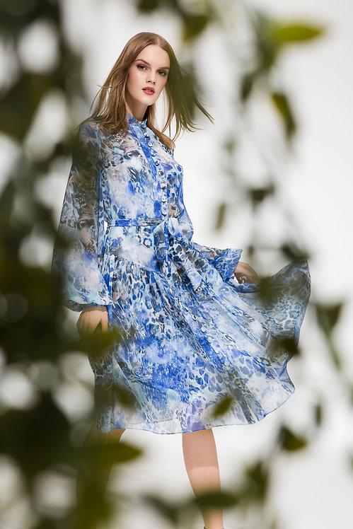 Blue Animal Print Chiffon Midi Dress