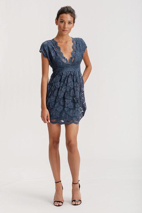 V-Neckline Mini Lace Dress