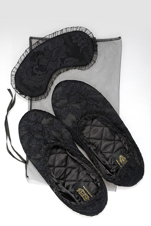 Perfect Sleep set in Black - gift box with lace slippers & soft sleeping mask