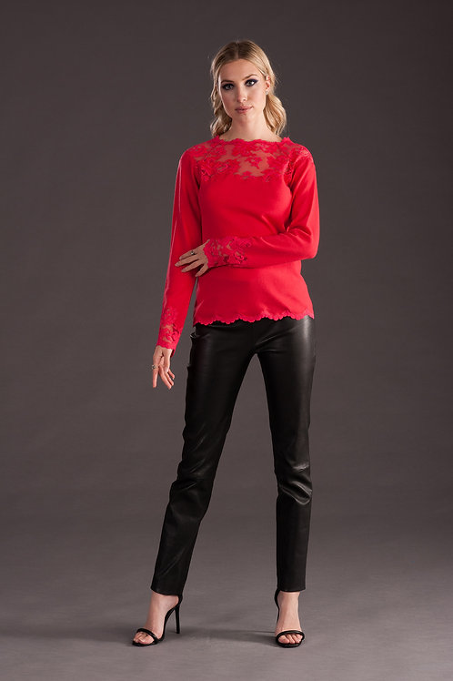 Mandarin Red Cashmere and Lace Sweater C227