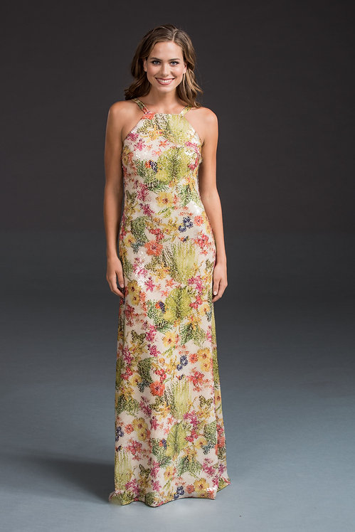 Sequin Floral Gown IB024