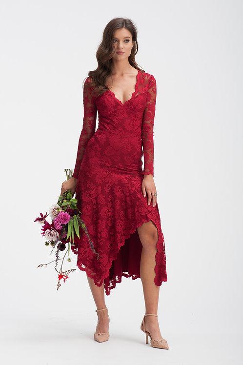 Jester Red Asymmetric Midi Lace Skirt
