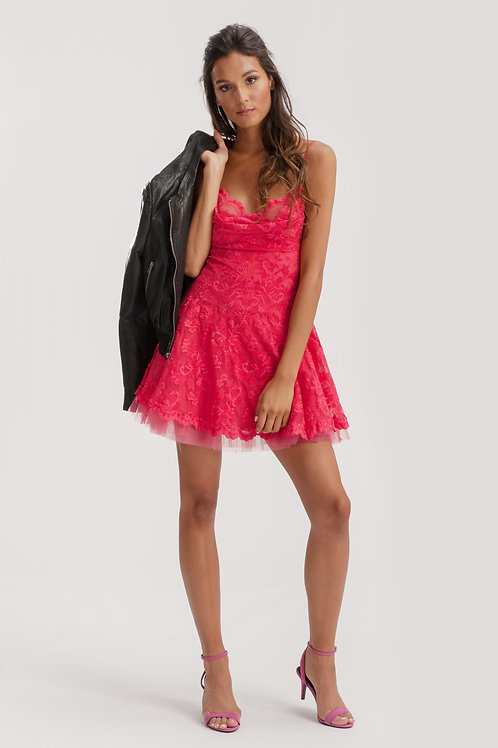 Pink Mini Lace Dress