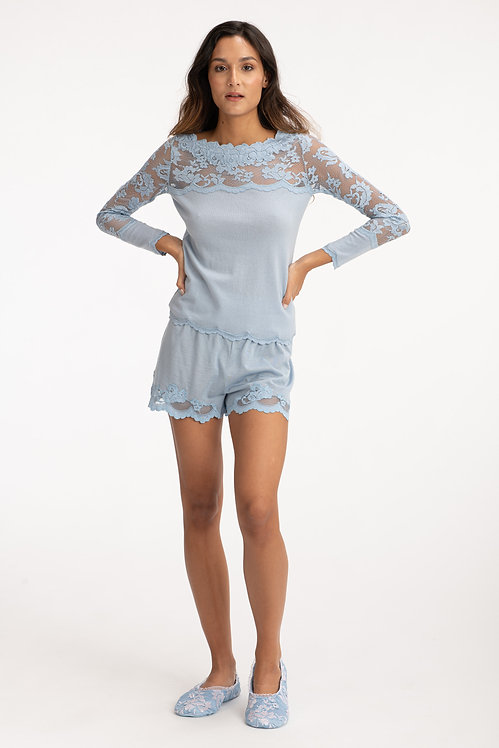 Blue Lace Cashmere Sweater Front View