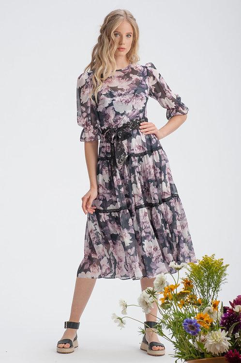 Shadow Rose Chiffon Midi Dress with Belt
