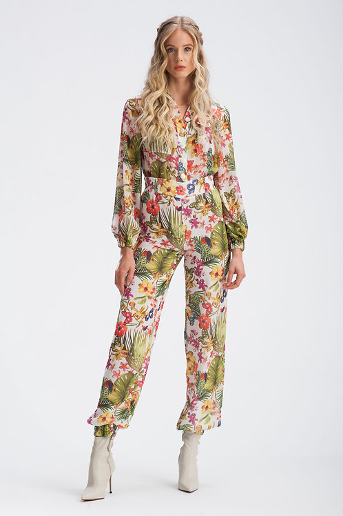 White Floral Buttoned Up Chiffon Jumpsuit