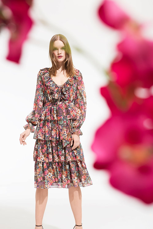 French Rose Ruffle Chiffon Midi Dress