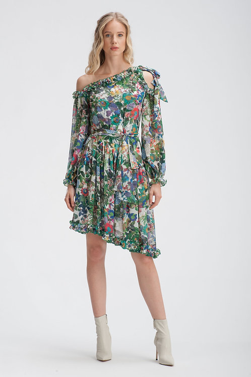 Green Floral Dress IB105