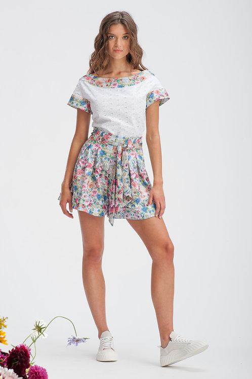 Spring Floral Belted Shorts