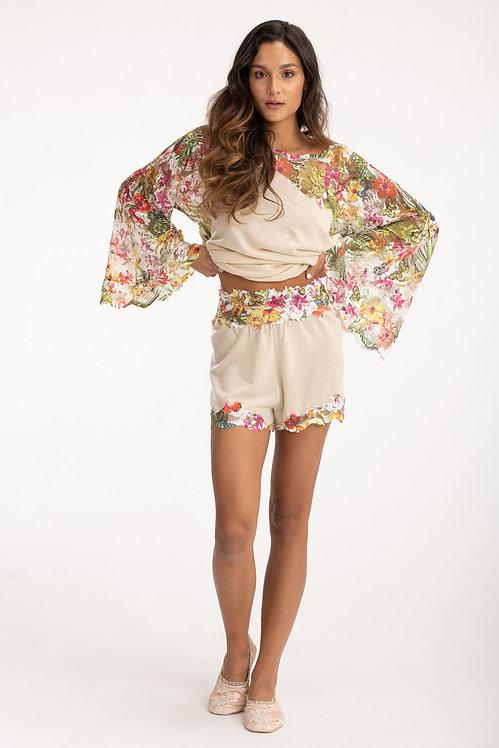 Cashmere Beige Shorts with Floral Details